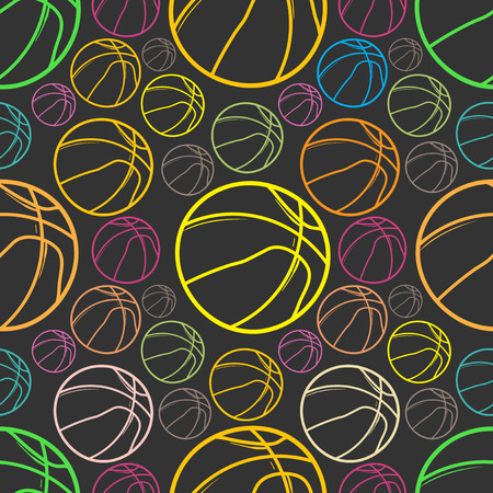 Basket balls sketch Seamless pattern background - sport - Illustration
