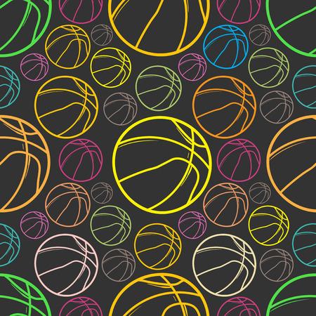 Basket balls sketch Seamless pattern background - sport - Illustration