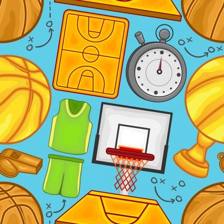 Basket balls equipment Seamless pattern background - sport - Illustration