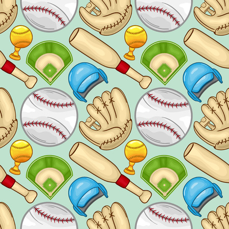 Baseball equipment Seamless pattern background - sport - Illustration