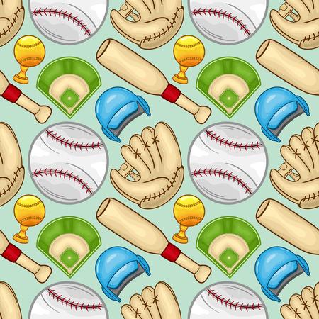 Baseball equipment Seamless pattern background - sport - Illustration