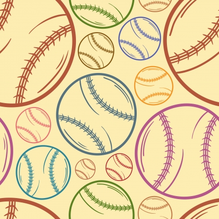 Baseball sketch Seamless pattern background - sport - Illustration