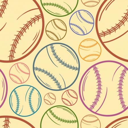 Baseball sketch Seamless pattern background - sport - Illustration