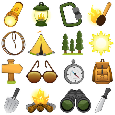 Outdoor   camp icon set    Illustration