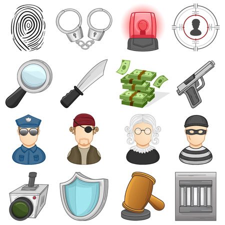 Law, Justice   crime Icons Set    Illustration Vector