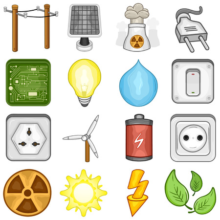 Power, Energy and Electricity icon set    illustration