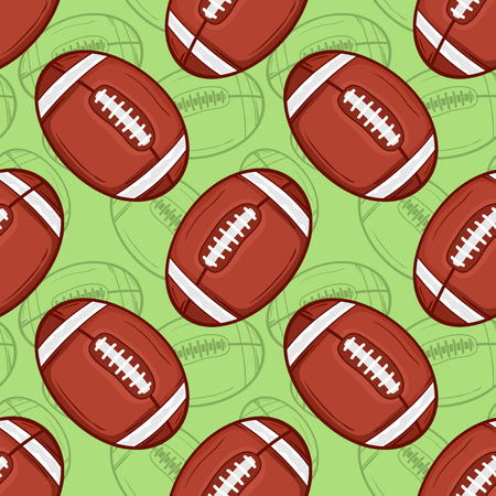 American football balls seamless pattern background - Sport - Illustration