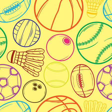 Sport balls seamless background - Illustration