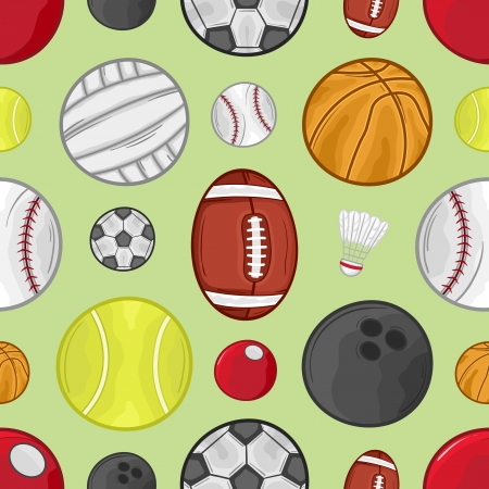 Sport balls seamless pattern background - Illustration