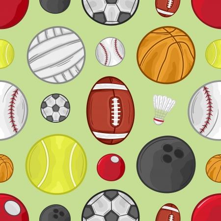 Sport balls seamless pattern background - Illustration