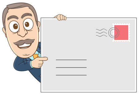 Businessman showing his address by holding a big mail  Illustration