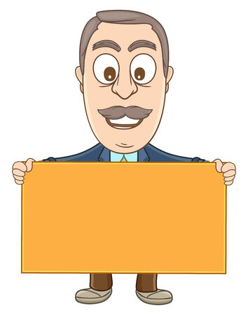 Businessman holding a blank board with his two hands