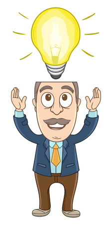 Businessman with the bulb above his head  Illustration