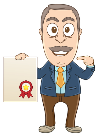 Businessman with a certificate letter on his hand