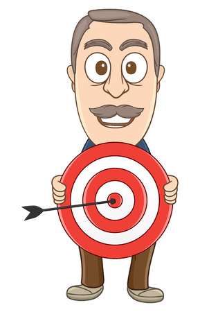 Businessman Holding a dart the arrows goes to the center