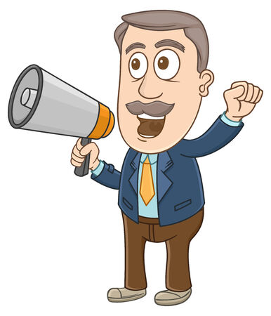 Businessman shouting using megaphone on his hand  Vector