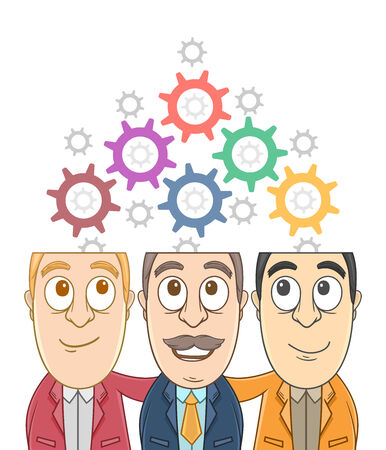 Businessman Brainstorming with connecting gears from their heads Vector