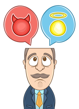 Businessman with two choices good or bad