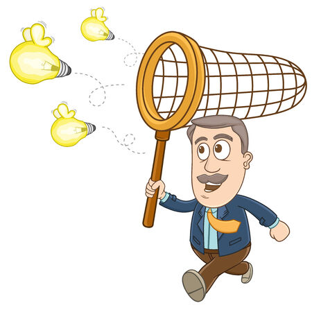 Businessman running and holding a net on his hand to catch the flying idea Illustration