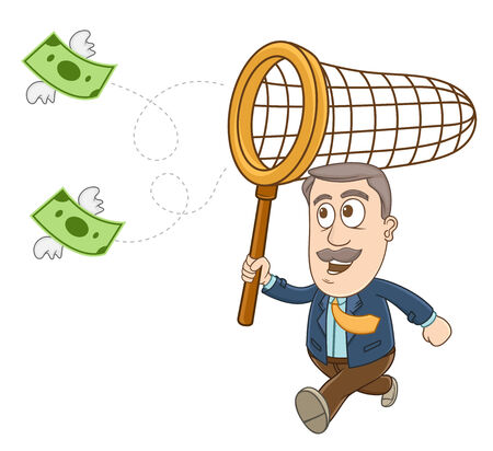 Businessman running and holding a net on his hand to catch the flying money