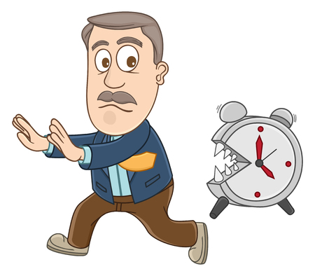 chased: Businessman chased by alarm clock