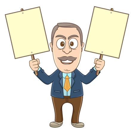 Businessman do demonstration by holding two blankboards