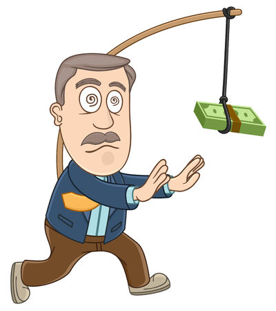 Businessman trying to get money