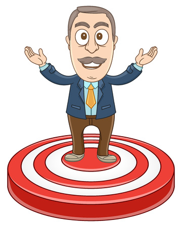 Businessman standing in centre of the dart Illustration
