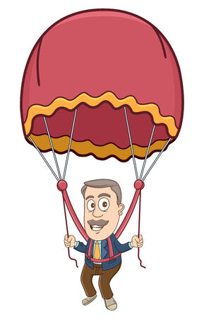 Businessman flying with the parachute Illustration