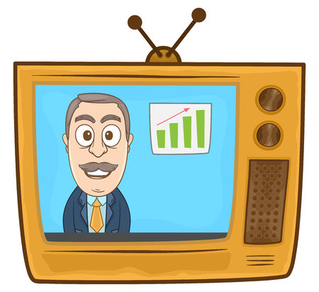 Businessman reporting news in the television Vector