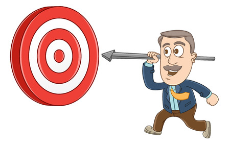 Businessman running with arrow go to the target