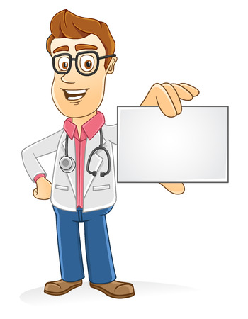 Doctor showing blank card on his hand