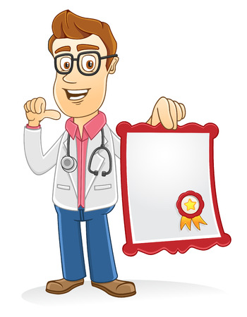 Doctor showing his certificate on his hand