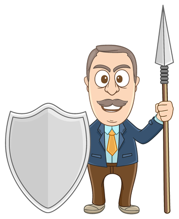 Businessman holding shield and pike as a guardian Illustration