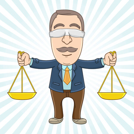 Businessman as symbol of law by holding two scale on his hand Vector
