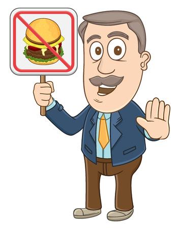 Businessman holding no food sign