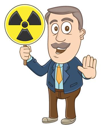 Businessman holding radiation area sign  Illustration