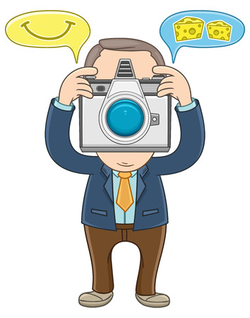 Businessman take a picture using a camera   Illustration