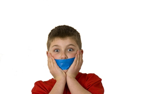 gagged: Boy gagged showing how he was silenced