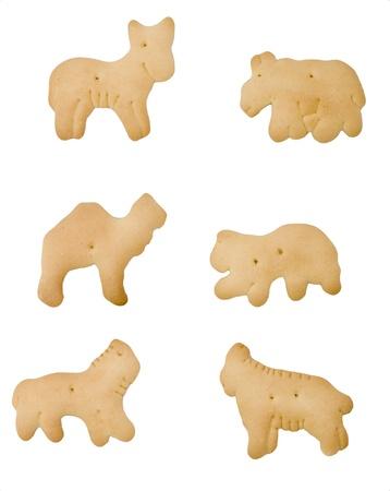 crackers: Un conjunto de seis galletas de animales aislados Foto de archivo