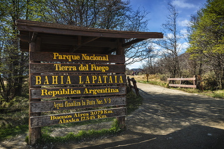 tierra: Entrance to the Tierra del Fuego National Park in Ushuaia, Argentina Stock Photo