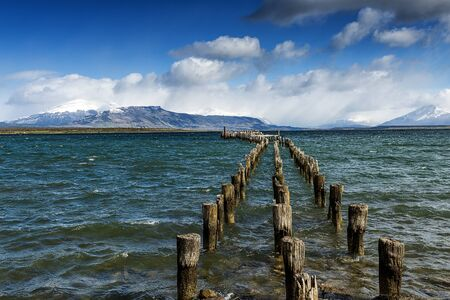 moutains: A jetty in Puerto Natales, Chile