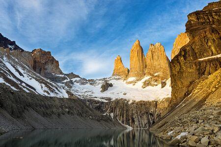 paine: The Torres del Paine at sunrise Stock Photo