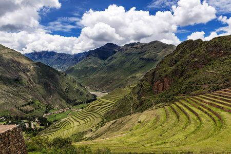 sacred valley: View of the Sacred Valley and ancient Inca terraces in Pisac, Peru.