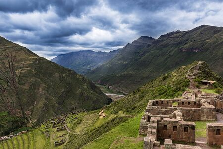 pisac: View of the Sacred Valley and ancient Inca terraces in Pisac, Peru.
