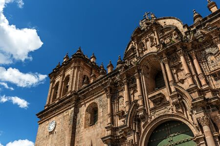 ade: Detail of the faade of the Cusco Cathedral, Cusco, Peru Stock Photo