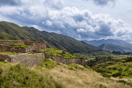 sacred valley of the incas: View of the Pakapukara ruins near Cusco, Peru