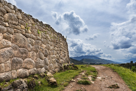 sacred valley of the incas: Ancient Inca stone wall in the Pakapukara ruins, near Cuzco, Peru