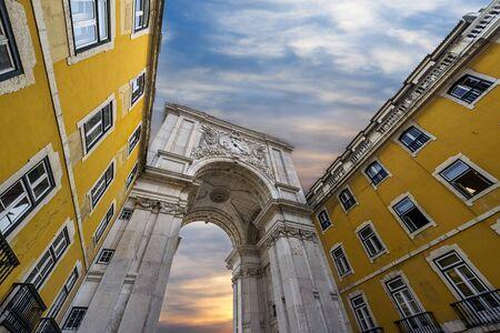 baixa: Triumphal Arch in the Rua Augusta, Lisbon, Portugal