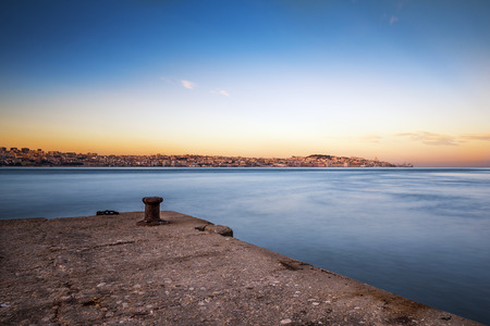 tagus: View of the city of Lisbon, Portugal, from the south margin of the Tagus River Stock Photo